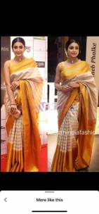 Gold uppada tissue by cotton sarees