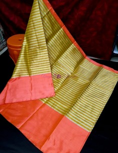 Green and pink uppada tissue by cotton sarees