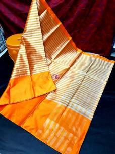 Orange uppada tissue by cotton sarees
