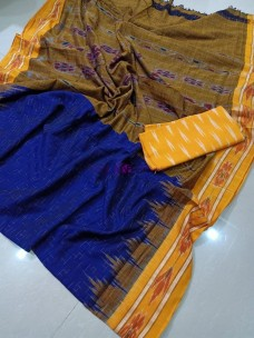 Dark blue handloom pure ikkat cotton sarees