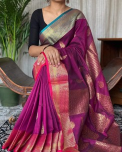 Dark magenta khadi cotton handwoven banarasi sarees