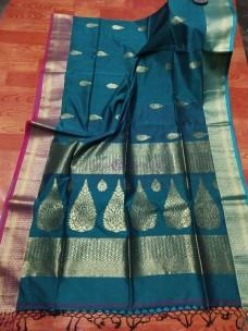 Peacock blue khadi cotton handwoven banarasi sarees