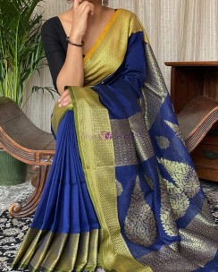 Dark blue khadi cotton handwoven banarasi sarees