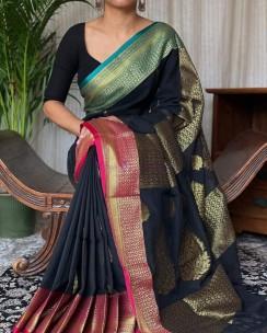 Black khadi cotton handwoven banarasi sarees