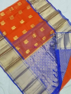 Orange and blue pure kanch kora silk sareee