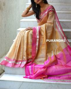Gold uppada tissue by cotton sarees with pink border