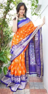 Orange handloom ikkat silk sarees
