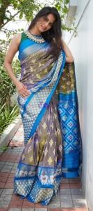 Grey and sky blue handloom ikkat sarees