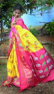 Yellow and pink handloom ikkat silk sarees