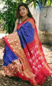 Blue and orange handloom ikkat silk sarees