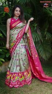 Beige and pink handloom ikkat sarees