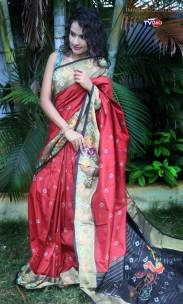 Red with black handloom ikkat sarees
