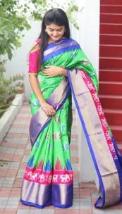 Green and blue handloom ikkat sarees