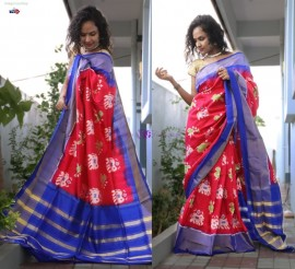 Red and blue handloom ikkat sarees