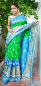 Green and sky blue handloom ikkat sarees