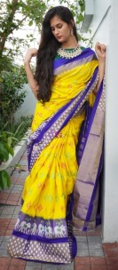 Yellow and indigo handloom ikkat sarees
