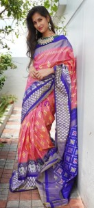 Peach and dark blue handloom ikkat sarees