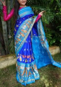 Dark blue with light blue handloom ikkat sarees