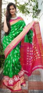 Dark green with pink handloom ikkat sarees