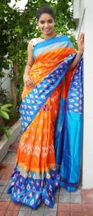 orange and sky blue handloom ikkat sarees
