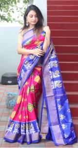 Dark pink and blue handloom ikkat sarees
