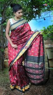 Maroon and black handloom ikkat silk sarees