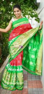 Red and green handloom ikkat silk sarees