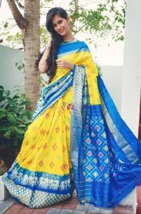 Yellow and sky blue handloom ikkat silk sarees