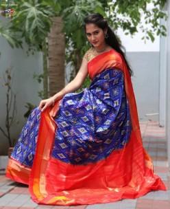 Navy blue with orange handloom ikkat sarees