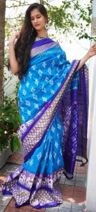 Blue and dark blue handloom ikkat sarees