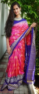 Dark pink with dark blue handloom ikkat sarees