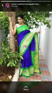 Royal Blue and green handloom ikkat sarees