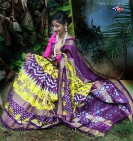 Yellow with dark violet handloom ikkat sarees
