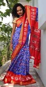 Blue handloom ikkat silk sarees