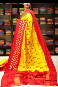 Dark yellow handloom ikkat sarees