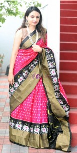 Dark pink and black handloom ikat sarees