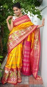Mango yellow and pink handloom ikkat silk sarees