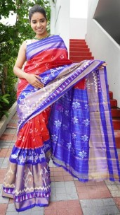 Red and blue handloom ikkat silk sarees