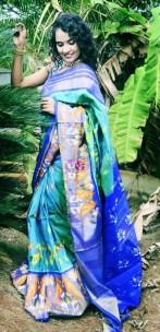 Light blue handloom pochampally ikkat sarees