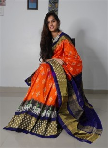 Orange with Navy blue pochampally ikkat silk sarees