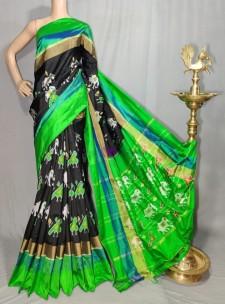 Black and green handloom ikkat sarees