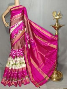 Pink handloom ikkat silk sarees