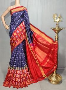 Navy blue handloom ikat silk sarees