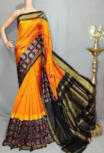 Mango yellow and black handloom ikkat silk sarees