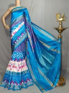 Sky blue handloom ikkat silk sarees