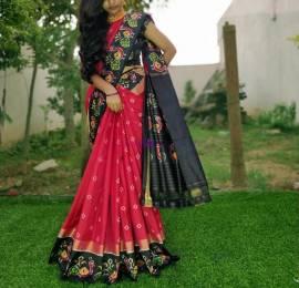 Red and black handloom ikkat sarees