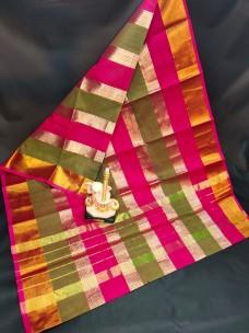 Dark pink and green uppada tissue cotton sarees
