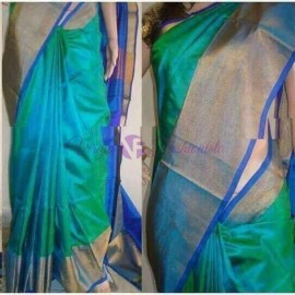 Rama green and dark blue uppada pattu big border sarees