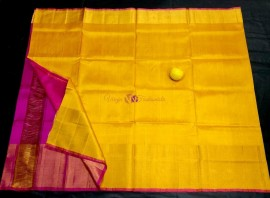 Mango yellow and pink uppada pattu big border sarees