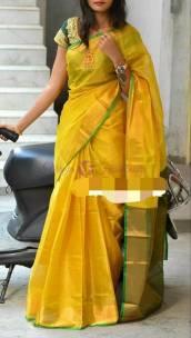 Yellow and dark green uppada tissue sarees